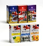 British Tea Black Tea Variety Pack (120 bags) Earl Grey/English Breakfast/English Afternoon/Peach/Lemon/Spiced Chai Tea/ Six Pack of Assorted Flavored Tea Bags