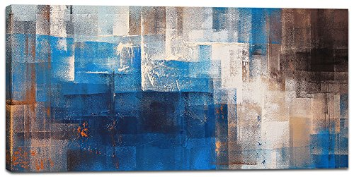 Abstract Wall Art Canvas Print Picture Painting for Living Room Large Blue Gray Brown Abstract Decoration Home Bedroom Bathroom Office Decoration Modern Framed Artwork (20x40inch)