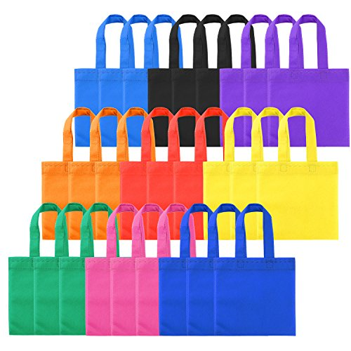 Shappy 27 Pieces 9 Colors Non-woven Bags Favor Tote Bags Party Gift Bags with Handles, 8 by 8 (Solid Color Treat Bags)
