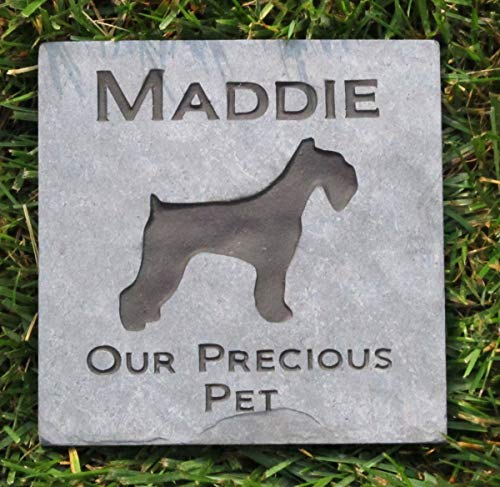 Memorial Gifts, Dog Memorials, Schnauzer Pet Memorial Stone 6 x 6 Inch Natural Slate Grave Marker, All Breeds Available