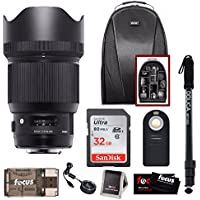 Sigma 85mm f/1.4 DG HSM Art Lens for Canon w/ Sigma Usb Dock & 32GB Premium Travel Bundle