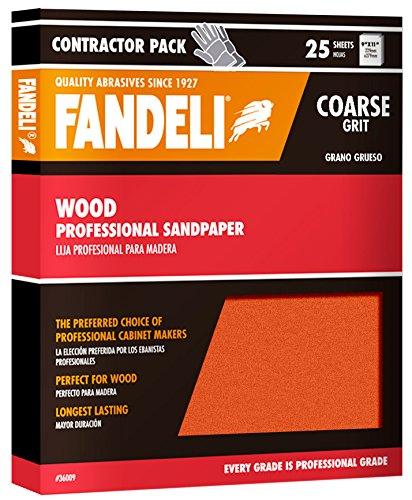 Fandeli 36009 Coarse Grit Wood Sandpaper Sheets, 9''  x 11'', 25-Sheet by Fandeli