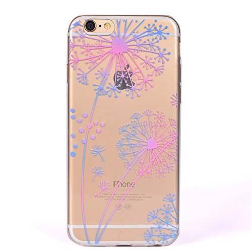 iPhone 6 / 6S Plus Coque , Leiai Mode Pissenlit Ultra-mince Transparent Clear Silicone Doux TPU Housse Gel Etui Case Cover pour Apple iPhone 6 / 6S Plus