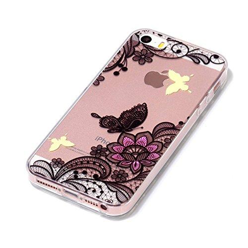 iPhone 5 5S Coque Beau papillon de fleurs Premium Gel TPU Souple Silicone Transparent Clair Bumper Protection Housse Arrière Étui Pour Apple iPhone 5 5S / SE + Deux cadeau