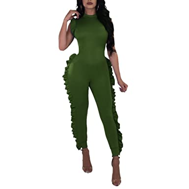 1d05186c909 Amazon.com  Kafiloe Womens Sexy Sleeveless Ruffles Bodycon Party Clubwear Jumpsuit  Long Pants Romper One Piece Outfit  Clothing