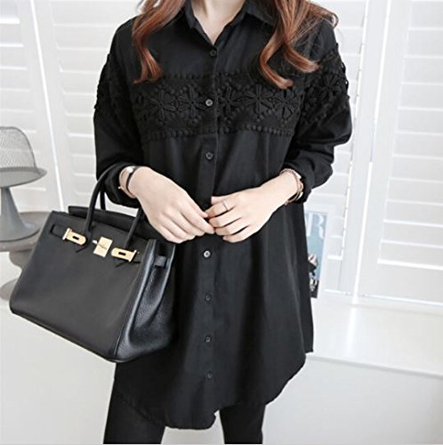 73bfbd25eb733 Aboutbaby Lace Patch-Worked Maternity Shirts Long Sleeve Loose Blouses Tops  For Pregnant Women Spring Autumn Pregnancy Clothing - Xxl, Black:  Amazon.in: ...