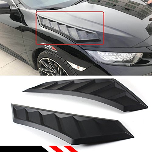 Cuztom Tuning FOR 2016-2018 10TH GEN HONDA CIVIC DECORATIVE MATT BLACK JDM HOOD BONNET LONG SIDE VENT LOUVER COVERS