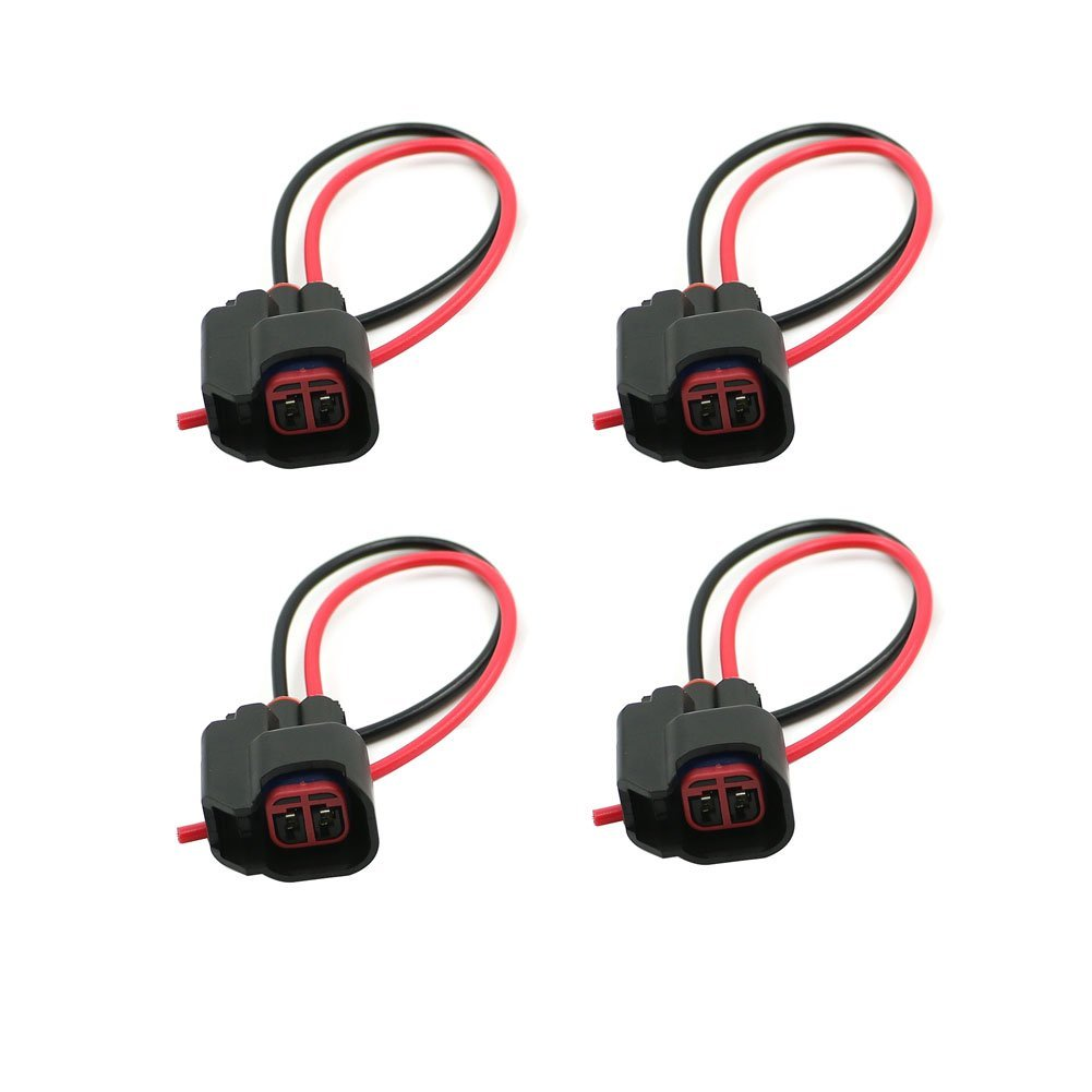 4pcs Motoparty EV6 EV14 Fuel Injector Connector Pigtail S824 S-824 Harness For Dodge LS2 LS3,EV6 EV14 Wiring Plugs Clips