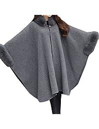 WSLCN Womens Cape Poncho Coat Faux Fur Buckle Collar Coat Bat Sleeve