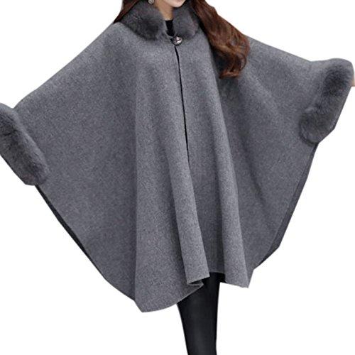 Elonglin Womens Faux Fur Cloak Coat Bat Sleeve Thick Wool Blend Trim Shawl Wrap Buckle Collar Trench Outwear Vintage Stylish Cape Poncho Coat Cardigan Cloak Jacket Winter Size M Grey (Vintage Cardigan Wool)