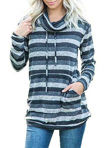 Asvivid Womens Color Block Striped Sweatshirt Lightweight Cowl Neck Drawstring Tunic Pullover Blouses Tops L Multi2 - Drawstring Tunic Top