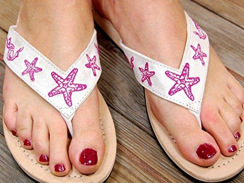 de SA1550 FBA Cuero Mujer Weiß Sportswear Flop Sandalias Seestern Flip Hq7xwEYS5