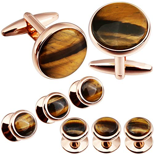 Mens Mother of Pearl Cufflinks and Dress Studs Set for Wedding Party ()