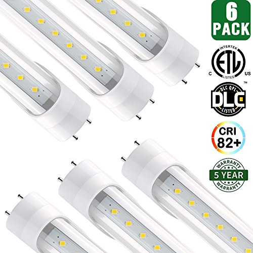 Hyolity 4' T8 T10 T12 18W LED Tube Light [40W Fluorescent Equivalent] 1980lm 5000K Clear Lens Cover Single-End Powered Fluorescent Tube Retrofit Replacement ETL and DLC Listed-Pack of 6 - Fluorescent Light Fixture Lens