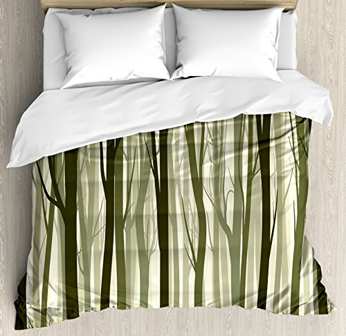 Forest Duvet Cover Set King Size by Ambesonne, Mother Nature Theme Illustration of Mystical Forest with Trees Print, Decorative 3 Piece Bedding Set with 2 Pillow Shams, Army Green and Sage (Forest Green Sage)
