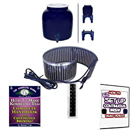 KOMBUCHA KAMP Continuous Brew BREWER ONLY: W/ Wood Stand & HANDBOOK plus Essential HEATING STRIP 9 Continuous Brew Kombucha is Easiest, Safest, Healthiest and Most Fun! Make Gallons of Kombucha for Pennies A Glass High Quality Porcelain Brewing Vessel - Certified Lead Free