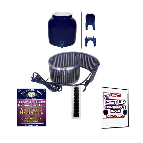 KOMBUCHA KAMP Continuous Brew BREWER ONLY: W/ Wood Stand & HANDBOOK plus Essential HEATING STRIP 1 Continuous Brew Kombucha is Easiest, Safest, Healthiest and Most Fun! Make Gallons of Kombucha for Pennies A Glass High Quality Porcelain Brewing Vessel - Certified Lead Free