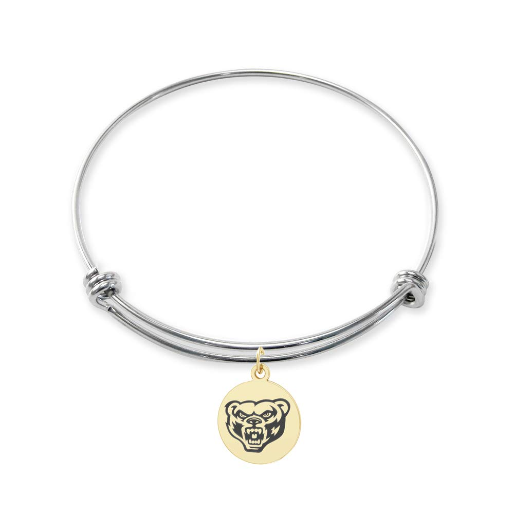 College Jewelry Oakland University Golden Grizzlies Stainless Steel Adjustable Bangle Bracelet with Yellow Gold Plated Round Charm
