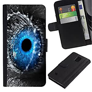 KingStore / Leather Etui en cuir / Samsung Galaxy Note 4 IV / Blue Eye Descenso macro del agua Naturaleza Gris