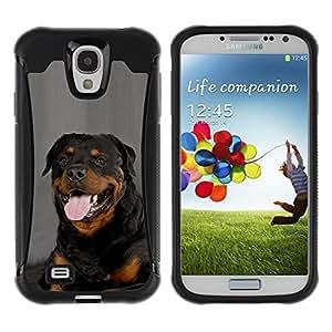 LASTONE PHONE CASE / Suave Silicona Caso Carcasa de Caucho Funda para Samsung Galaxy S4 I9500 / Rottweiler Portrait Panting Tongue Pink Dog