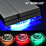 WOWLED Cooling Fan Mini 3 keys Control Gaming USB RGB LED Cooler Thermal Fan Pad for PS4 Playstation 4 XBOX One X Consoles Laptop Notebook PC CPU Coolers Computer Cooling Strip Light Case Fan