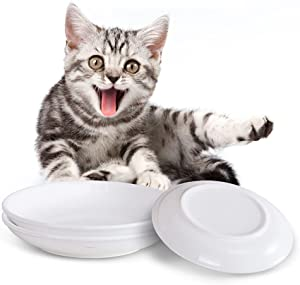 Ceramic Whisker Relief Cat Food Bowl, Jemirry 6 Inch Wide Shallow Cat Raised Dish Set,Pet Cat Dog Feeding Food Plate (3 Packs)
