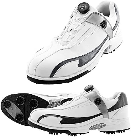 軽量・防水 ワールドイーグル メンズ ワイヤー ダイヤル式 E-LINE スパイクシューズ 疲れないインナーソールと専用シューズ袋付/White/Black/25.5cm