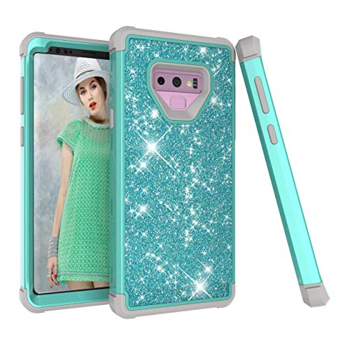 Galaxy Note 9 Case, Dooge Glitter Sparkle Bling Girls Women Case Heavy Duty Armor Defender Shockproof Protective PC + TPU Bumper Shell for Samsung Galaxy Note 9 (Aqua) Belkin Blue Silicone Case