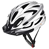 JBM international JBM Adult Cycling Bike Helmet Specialized for Mens Womens Safety Protection Red/Blue/Yellow (Silver, Adult) For Sale