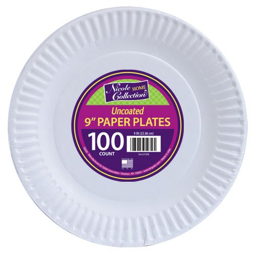 Nicole Home Collection 100 Count Everyday Dinnerware Paper Plate, 9-Inch, White