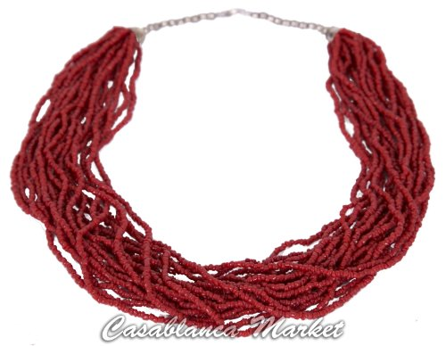 (Moroccan Artisan Glass Coral Bead Necklace)