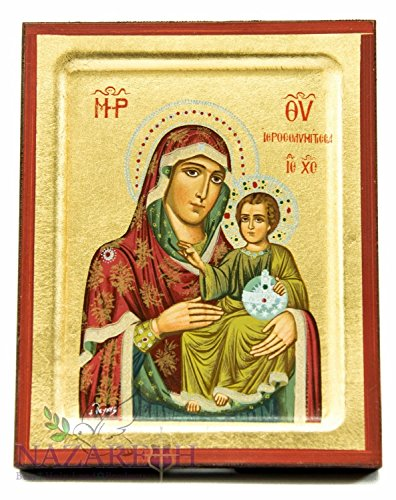 Jerusalem Virgin Mary With Infant Jesus Byzantine Wood Icon Christian Plaque by Holy Land Gifts