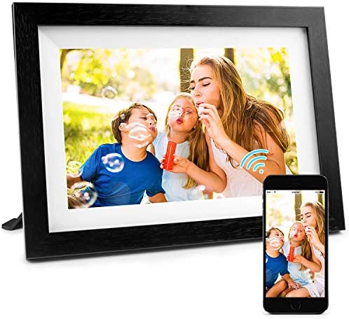 Henscoqi 10.1 inch WiFi Digital Photo Frame with IPS HD Display 1280×800, 16GB Storage Smart Digital Picture Frame Share Picture Video on Widescreen, Touch Screen Digital Photo Frame as Gifts