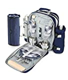 Greenfield Collection BPSD2DNBHPW Picnic Backpack, Navy Blue