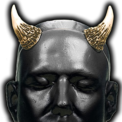 Wicked v1 Bone White & Black Devil Horns with adjustable, self locking clear (Electronic Demon Costume)