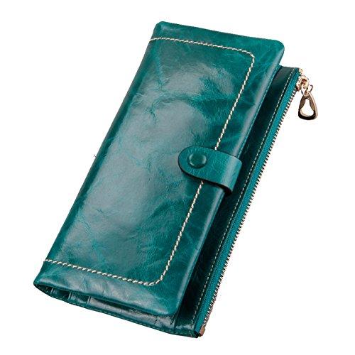 TACOO Women Wallet Elegant Unisex Leather Men Large Capacity Fashion Purse Green