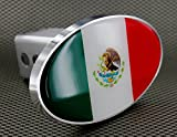 """Oval Mexico Flag Tow Hitch Billet Aluminum Trailer Hitch Cover Fits 2"""" Receivers"""