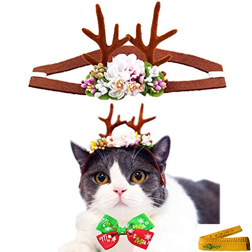 Pet Reindeer Antler Hair Head Band and Collar Bow Tie Christmas Accessories for Kitten Puppy Small Dogs Cats Rabbits Holiday Party Wear (Brown)