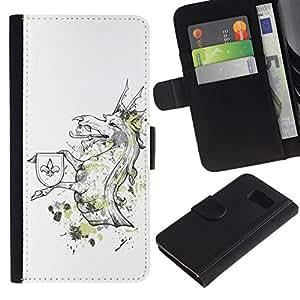 All Phone Most Case / Oferta Especial Cáscara Funda de cuero Monedero Cubierta de proteccion Caso / Wallet Case for Samsung Galaxy S6 // Cool Funny Majestic Dragon Creature