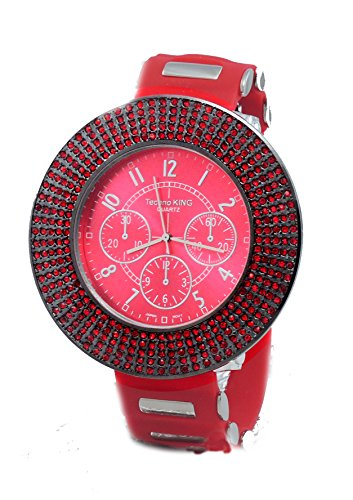 Iced Out, 5-Row Czs, silver Tone Bling Bing Red Bullet Band Watch-Large Size