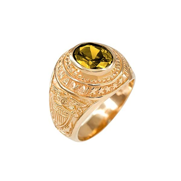 November-CZ-Birthstone-US-Navy-Mens-Ring-in-Solid-10k-Yellow-Gold