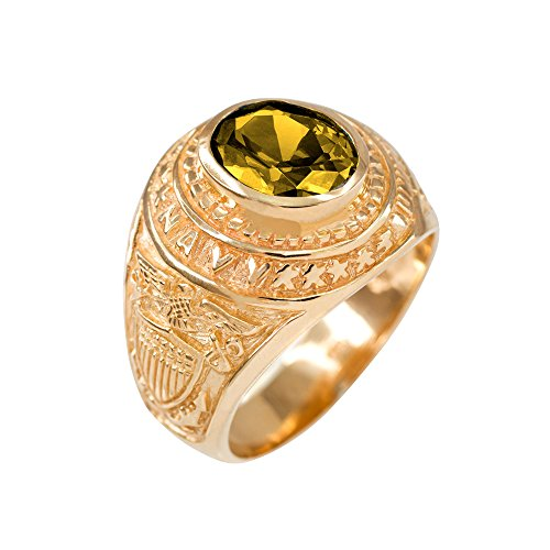 (November CZ Birthstone US Navy Men's Ring in Solid 10k Yellow Gold (Size 8) )