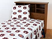 College Covers Auburn Tigers Printed Solid Sheet Set