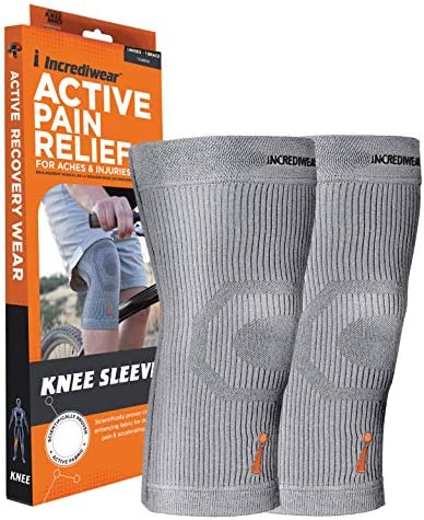 Incrediwear Knee Sleeve Anti-Inflammatory Recovery and Performance Wear Knee Brace Grey, Medium (Pack of two)