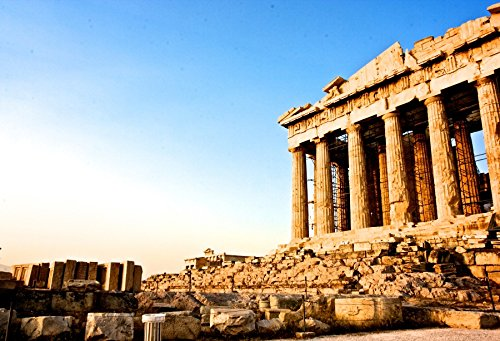OFILA Greek Backdrop 7x5ft Athens Parthenon Temple Ancient Greek Buildings Blue Sky Travel Landscape Wallpaper Decoration Children Baby Kids Toddler Photos Digital Video Studio - Drop Greek