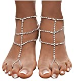 Bienvenu 2pcs Crystal Anklets for Beach Barefoot Sandals Wedding Vacation