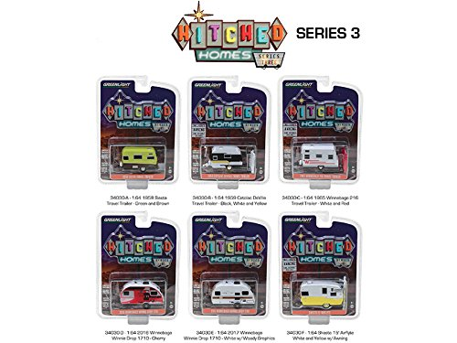 Greenlight 34030 Hitched Homes Series 3, 6pc Trailer Set 1/64 Diecast Models