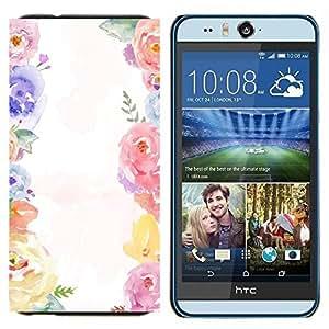 TECHCASE---Cubierta de la caja de protección para la piel dura ** HTC Desire Eye ( M910x ) ** --Bouquet Blanco Primavera Girly