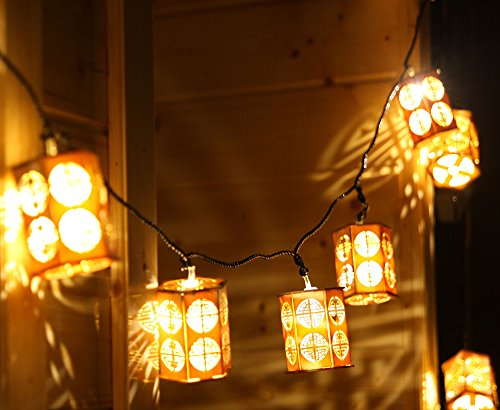 Deli 20 LED Wooden Lanterns Warm White String Lights with Power Plug for Christmas/Wedding/Party/Festival/Decor (5 meters) (Plug In Led Lantern compare prices)