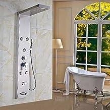Senlesen Nickel Brushed Rain Waterfall Shower Head Bath Shower Column Message Jets System with Hand Shower